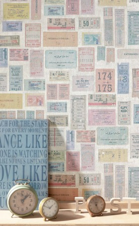 Papel Pintado Tickets Vintage