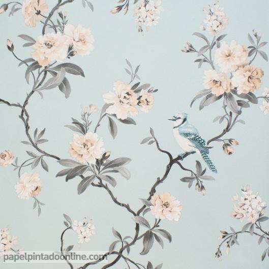 Papeles Pintados Flores Inglesas Con Pajaro
