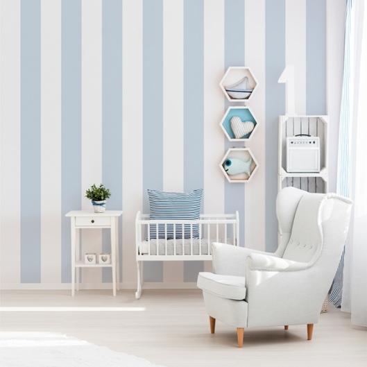 Papel Pintado Rayas Azules y Blancas 903