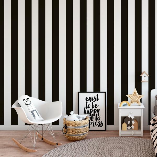 Papelpintadoonline papel pintado for Papel pintado rayas negras y blancas