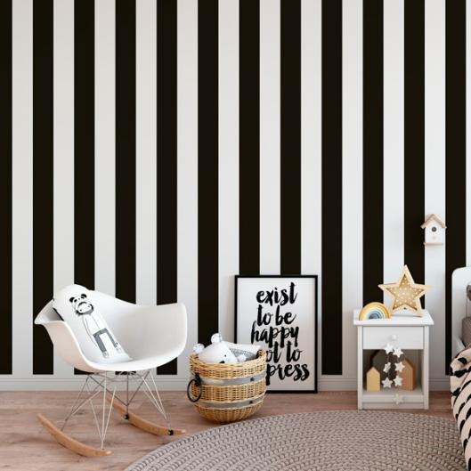 Papel Pintado Rayas Blancas y Negras 905