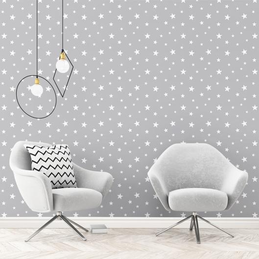 Papel Pintado Moderno Estrellas en Gris Medio