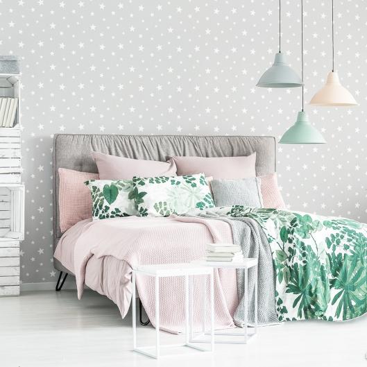 Papel Pintado Estrellas Grises dormitorio