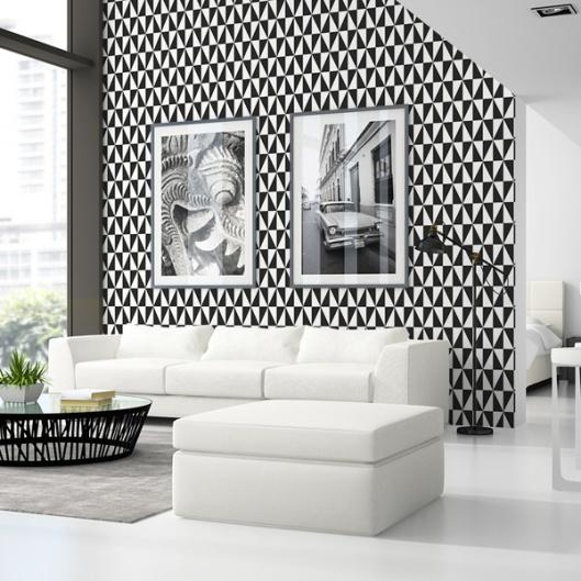 papel pintado geometrico en blanco y negro 995