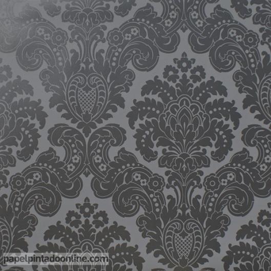 Papel Pintado Damasco Negro 5288-1